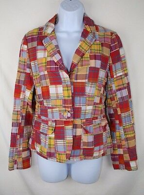 JCREW Womens Plaid Madras Suit Coat Blazer Jacket Cotton Size 0 XS X-Small