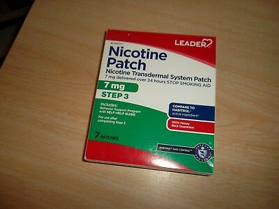 Leader Nicotine Transdermal System Patch Step 3 - 7Mg - 7 Patches - 10/2018 New!