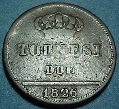 Italy Italian States - Naples & Sicily - 1826 - Due (2) Tornesi - Old Copper
