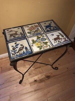 Vintage Tile Table Wrought Iron Hand Painted European Country 17 x 12 Rustic