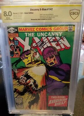 uncanny x-men #142 signed by writer Chris Claremont cbcs 8.0 yellow label