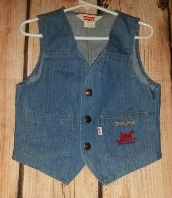 Rare Vintage 70s LEVIS STRAUSS Toddler Kids Denim Jean Vest Boy/Girl Size 4 / 6?