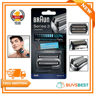 Braun Series 3 Electric Shaver Replacement Foil and Cutter Cassette SilverCOM32S