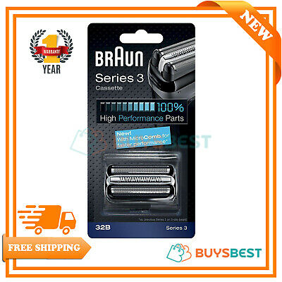 Braun Series 3 Electric Shaver Replacement Foil and Cutter Cassette Black COM32B