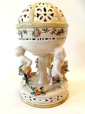 Antique Agostinelli Italian c1870 Faience Pottery Pomander with Putti Cherubs