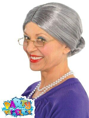 Grey Granny Old Lady Wig Grandma Nanna Womens Ladies Fancy Dress
