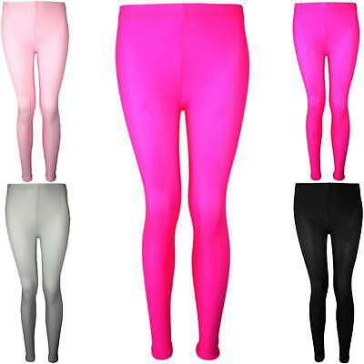 Girls Full Length Leggings Plain Neon Shiny New Dance Stretch Teens 5-16 Years