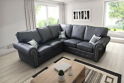 Tremendous New Large Lord Corner Sofa 3 2 Seater Suite Settee Grey Or Brown Fabric Leather Home Interior And Landscaping Mentranervesignezvosmurscom