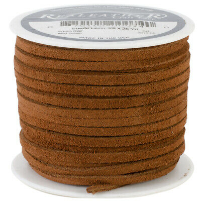 "Realeather Crafts SOS25-2002 Suede Lace .125""X25yd Spool-Medium Brown"