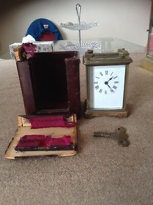 Antique French Brass Mantel Carriage Clock W Leather Outer Case c1900 Not Workin