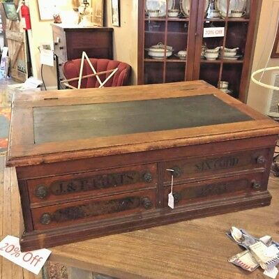 Antique Spool Cabinet, J. & P. Coats, Store Display, Sewing, Desk, Advertising