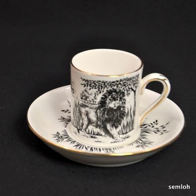 Crown Staffordshire Coffee Can Cup Saucer 1930-1974 Lion on Savanna Black w/Gold