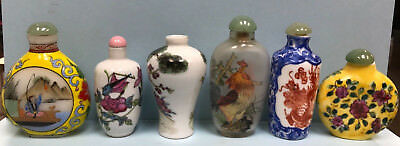Fine Small Antique Lot 6 Chinese Snuff Bottles