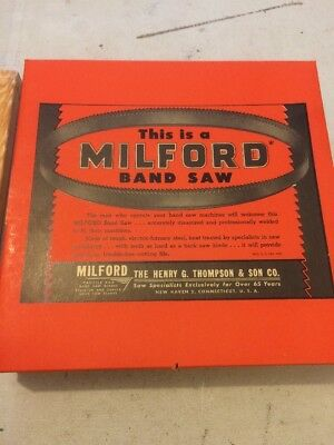 """Vintage New Old Stock 2 Milford Band Saws  7' 9""""l 1/4"""" W .025 Thick New Haven Ct"""