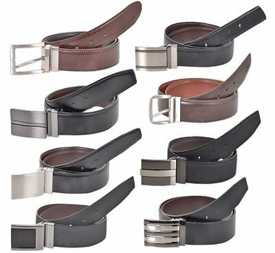 New Mens Real Leather Designer Casual Reversible Belt Trouser Jeans Metal Buckle