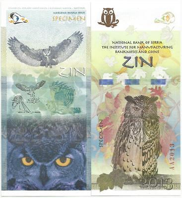 Serbia 2013. The Owl Test banknote specimen from ZIN Belgrade