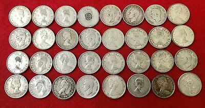 Lot Of 32 Silver Canadian Quarters Pre 1967