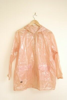 Vintage 1950's Clear Pink Houndstooth Rain Coat Free Size Pockets Draw String