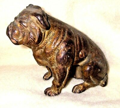 Antique Canadian Cast Iron Bull Dog Figural STILL Bank Folk Art CHARMER