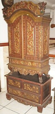 Rare 19th century antique Javanese Indonesia Royal Family cupboard cabinet