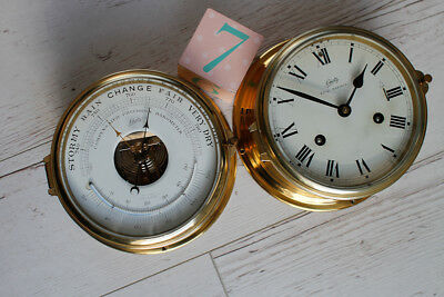 West German Schatz Royal Mariner Brass Ships Clock and Barometer Set