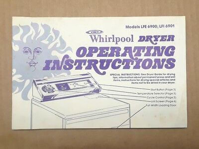 Vintage Whirlpool DRYER OPERATING INSTRUCTIONS
