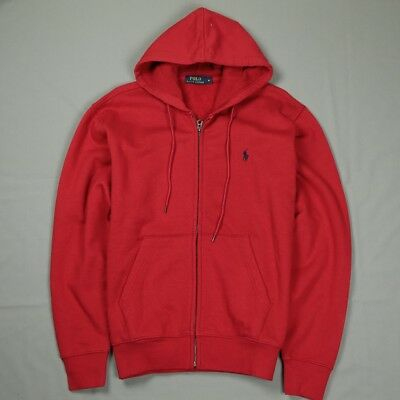 33ff80b11a9 New Polo Ralph Lauren Full Zip Fleece Hoody Jacket Men Red   Navy Size M L  XL