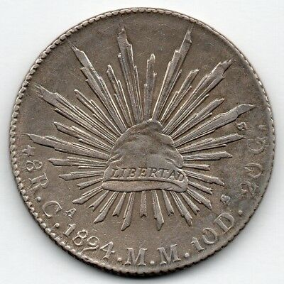 Mexico 8 Reales 1894 CaMM (90.3% Silver) Coin