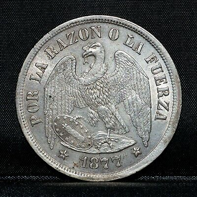 1877 Chile 1 Peso ✪ Au Almost Uncirculated ✪ Choice Ch Republic L@@k ◢Trusted◣