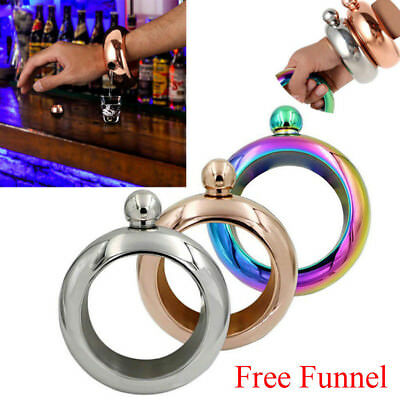 3.5oz Steel Whiskey Bottle Alcohol Bangle Bar Drinkware Bracelet Hip Flask