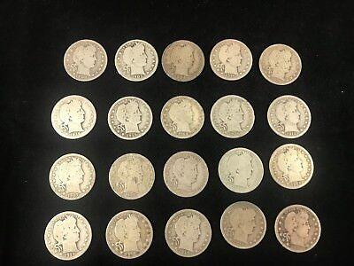 1/2 Roll ~ Barber Quarters ~ 20 Coins ~ Avg Circulated ~ Good-Better ~ Lot 1
