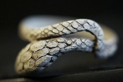 Ancient Roman Silver Finger Ring. Twisted Serpent Snake Animal, c 250-350 Ad.