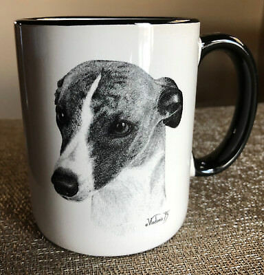 Dog Whippet Coffee Mug Cup White Black Porcelain Excellent Condition Breed