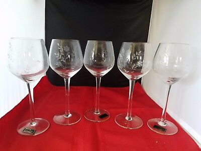 """5 Toscany Hand Blown Wine Glasses Etched  Floral Design 8"""" H Made In Romania"""