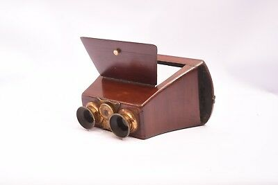 Very Early Wooden Stereoviewer for Glass and Card Stereo View Format 8, 5x17 CM
