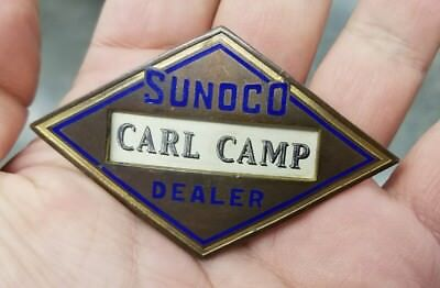 Early Sunoco Motor Oil Dealer Badge Pin Brass and Enamel Gas Station Attendant