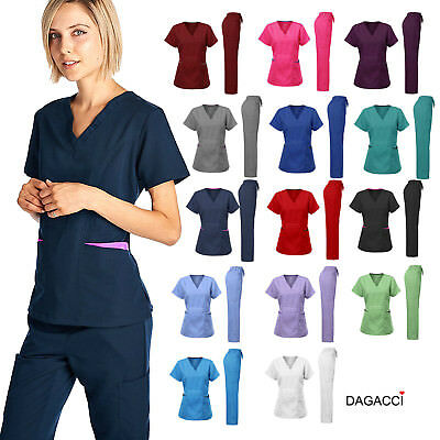Dagacci Medical Women's Uniform Natural Stretch Contrast V-Neck Scrubs Sets
