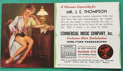 Commercial Music Co., Wurlitzer Phonographs San Antonio, Pinup Girl Ink Blotter