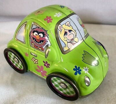"6"" MUPPETS VW BUG BEETLE Tin Toy Car Miss Piggy Kermit Animal Fozzie Gonzo Rizzo"