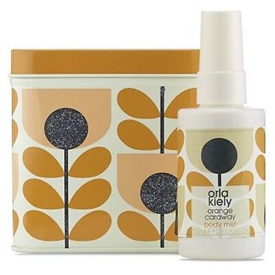 Orla Kiely Orange Stem Print Tin With Orange Caraway Body Mist, BNWT