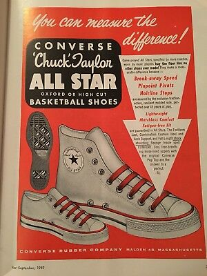 Original Vintage 1959 CONVERSE Chuck Taylor ALL STAR BASKETBALL SHOES Print Ad