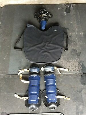 TP Catcher's/Umpire Mask w/Steve Yeager Throat Guard, Shin Protectors, Ump Chest