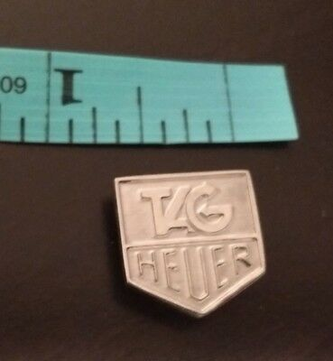 Tag Heuer Magnetic Metallic Silver-Colored Chevron Lapel Pin Vintage Classic