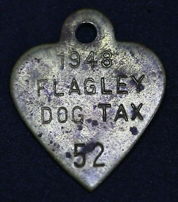 Vintage 1948 #52 Flagley Dog Tax License Not Upper As In Harry Potter