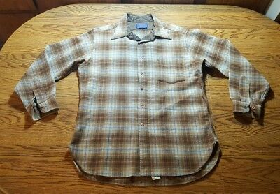 Pendelton Wool Shirt Size Large Men's Long Sleeve Button Plaid Brown Blue NICE!