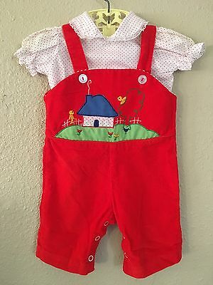 Baby Girl Outfit Red Appliqué Corduroy Overalls, Polkadot Shirt Size 0-9 Months