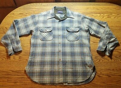 Pendelton Wool Shirt Size Large Men's Long Sleeve Button Plaid Blue & Brown NICE