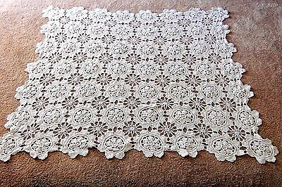"""Vintage Hand Crocheted Table Cover / Ecru / 54"""" x 47"""""""