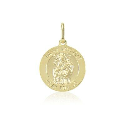 14K Solid Yellow Gold Saint Anthony Medal Pendant Round St Necklace Charm Unisex