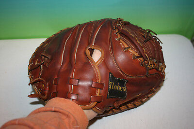 Vintage Nokona Dark Brown Pro Line Model RHT Catchers Glove
